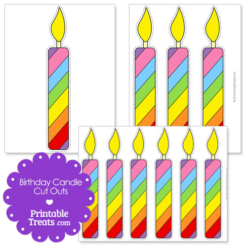 one large birthday candle cut out. A page with three large birthday ...