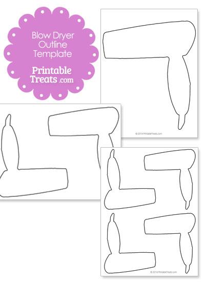 Printable Blow Dryer Outline Template — Printable Treats.com