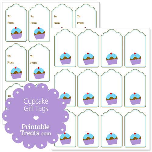 printable blue cupcake gift tags