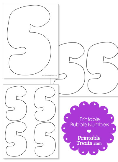 photograph about Bubble Numbers Printable named Printable Bubble Variety 5 Printable