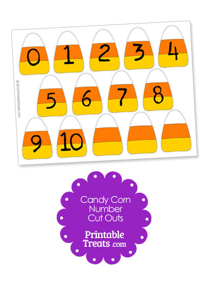 Printable Candy Corn Number Cut Outs from PrintableTreats.com