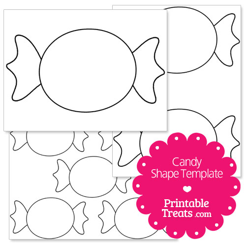 one large candy shape template a page with two medium sized candy ...