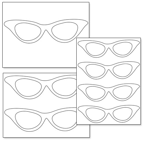 Stencil Kit Eyeglass Frame : Printable Cat Eye Glasses Printable Treats.com