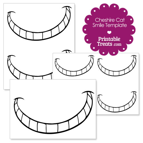 Printable cheshire cat smile printable treatscom for Smile templates