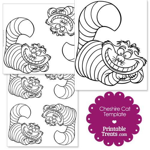 picture about Cat Template Printable named Printable Cheshire Cat Template Printable