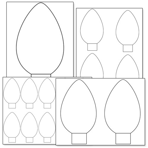 printable Christmas light bulb template