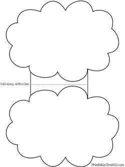 Printable cloud card template printable for Cloud template with lines