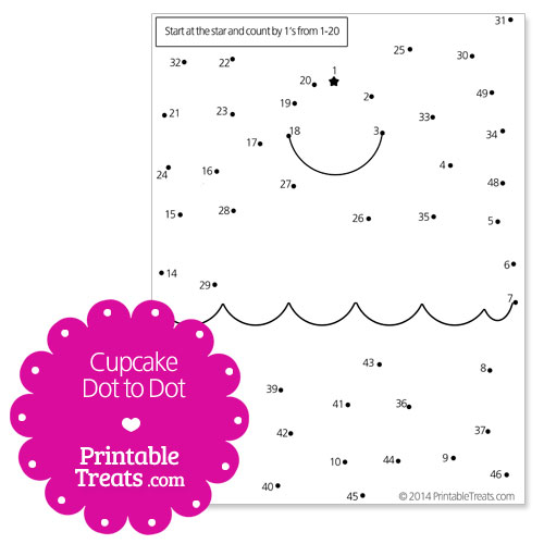 Prinable Cupcake Dot To Printable Treats. Free Printable Cupcake Dot To. Worksheet. Name Dots Worksheet At Clickcart.co