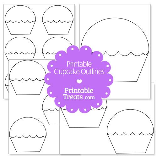 printable cupcake outline