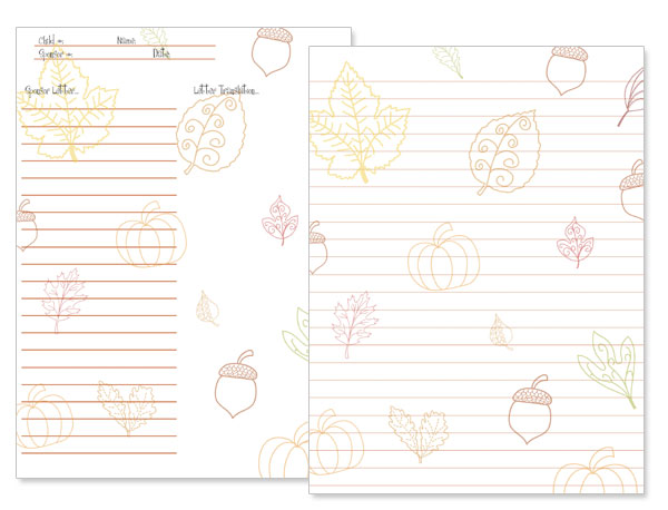 printable fall stationery for kids