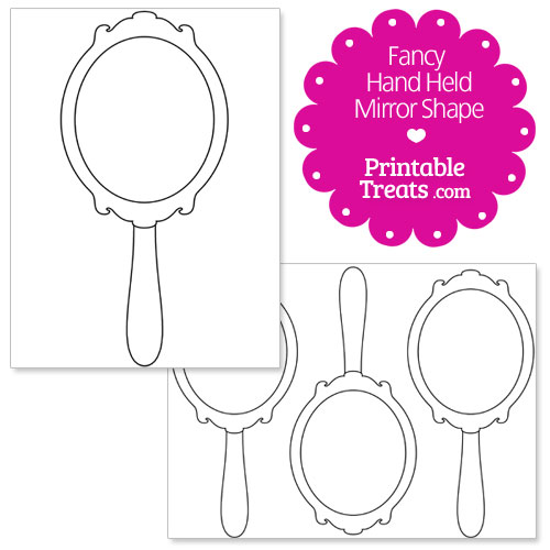 Printable fancy hand mirror shape template printable for Mirror will template