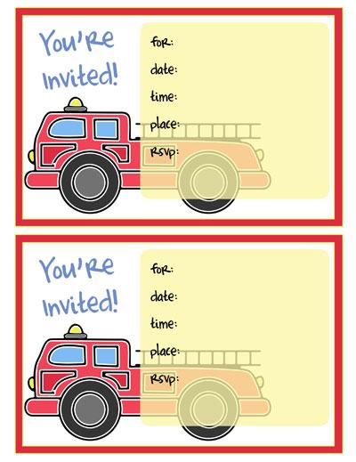 printable fire truck invitations printable treats com