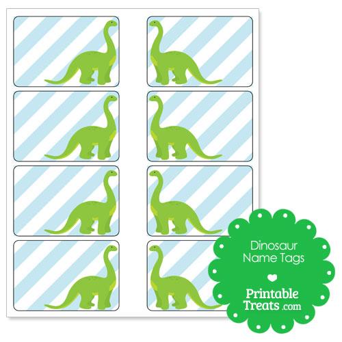Cute Green Border Kids Dinosaur Name Template