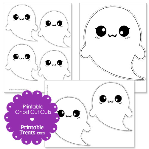 image regarding Halloween Cutouts Printable titled Printable Halloween Ghost Slash Outs Printable
