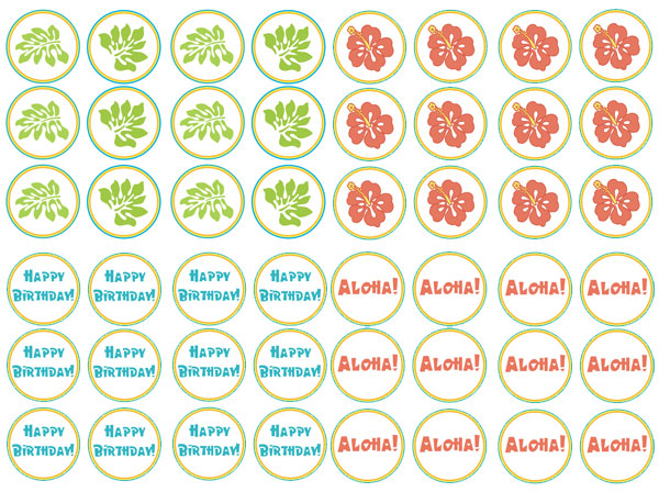 printable hawaiian cupcake toppers