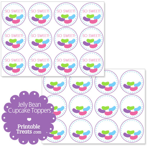 printable jelly bean candy cupcake toppers