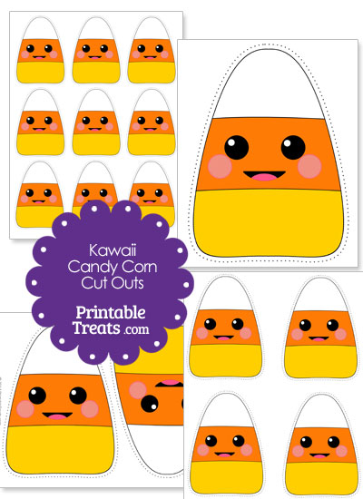 Printable Kawaii Candy Corn Cut Outs from PrintableTreats.com