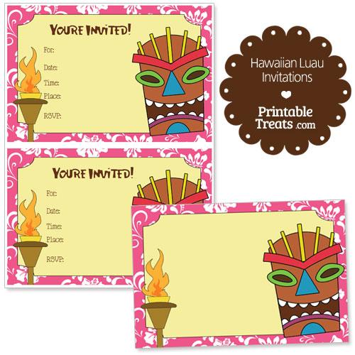 printable pink hawaiian luau invitations printable treats com