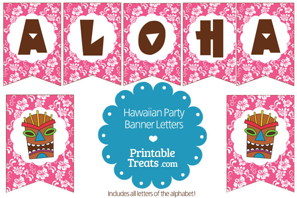 printable pink hawaiian party banner