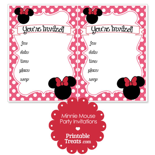 printable pink minnie mouse invitations