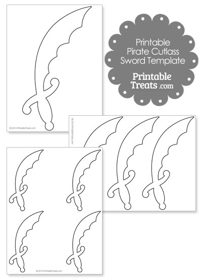 printable pirate cutlass sword template printable treats com