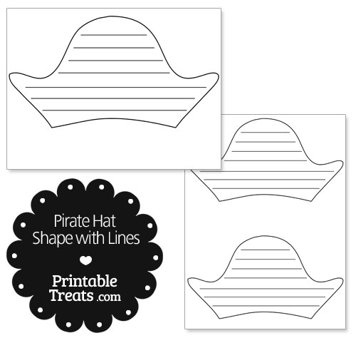 Printable pirate hat shape with lines printable for Pirate hat coloring page