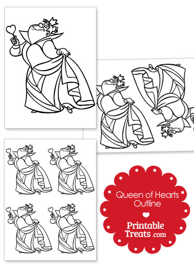 Printable Queen of Hearts Outline from PrintableTreats.com