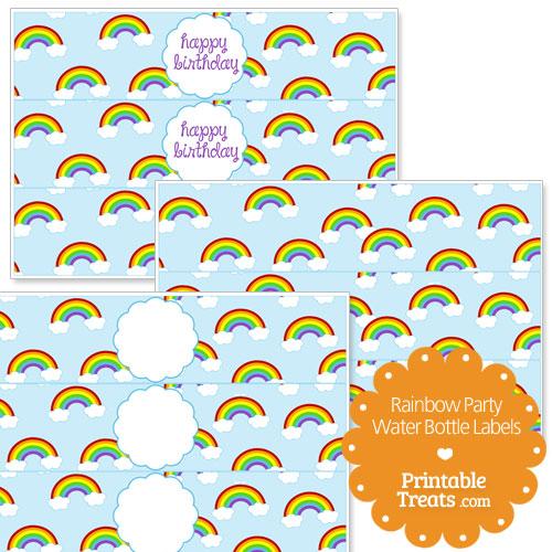 printable rainbow water bottle labels