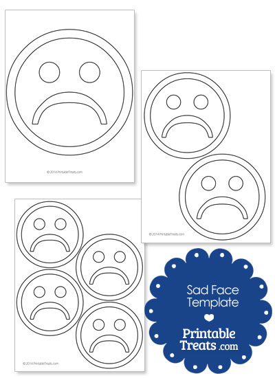 Printable Sad Face Template From PrintableTreats.com  Face Template Printable