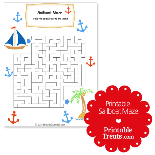 The printable boat maze is decorated with red and blue anchors ...