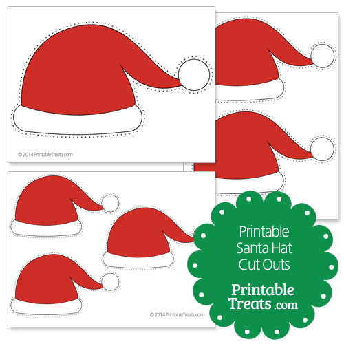photograph about Elf Hat Printable named Printable Santa Hat Slash Outs Printable