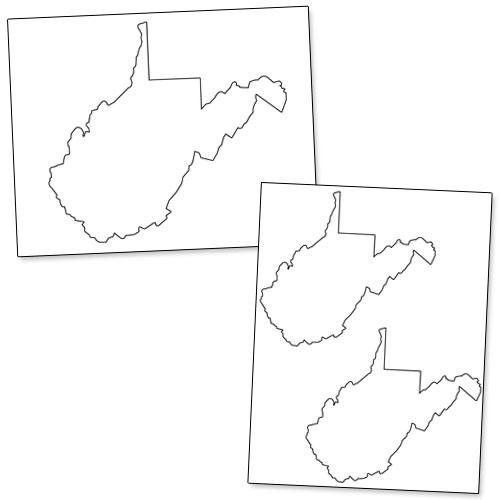 printable shape of west virginia