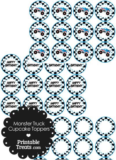 Printable Shark Monster Truck Cupcake Toppers Printable