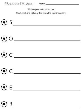 Printable Soccer Acrostic Poem — Printable Treats.com