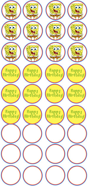 printable spongebob cupcake toppers