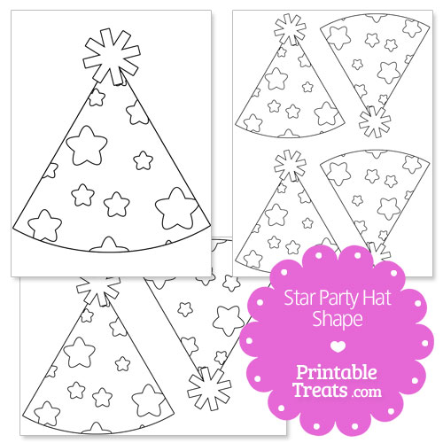 printable star party hat shape