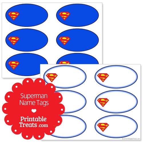 printable superman name tags