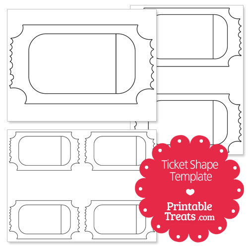 Printable Ticket Shape Template  Printable TreatsCom