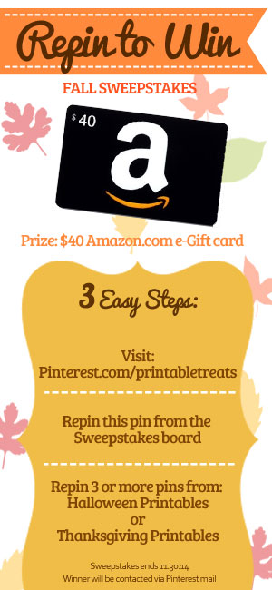 Printable Treats 2014 Fall Sweepstakes Repin to Win from PrintableTreats.com