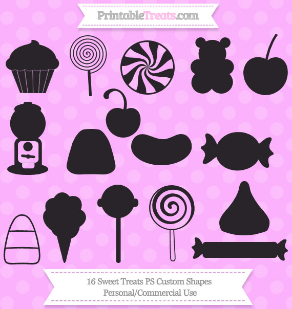 Free 16 Sweet Treats Photoshop Custom Shapes