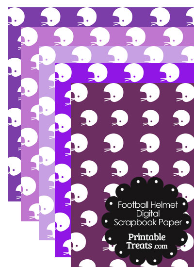 Purple Background Football Helmet Digital Scrapbook Paper