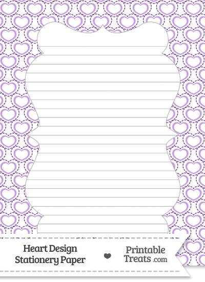 Purple Heart Design Stationery Paper Printable Treats – Stationery Paper with Lines