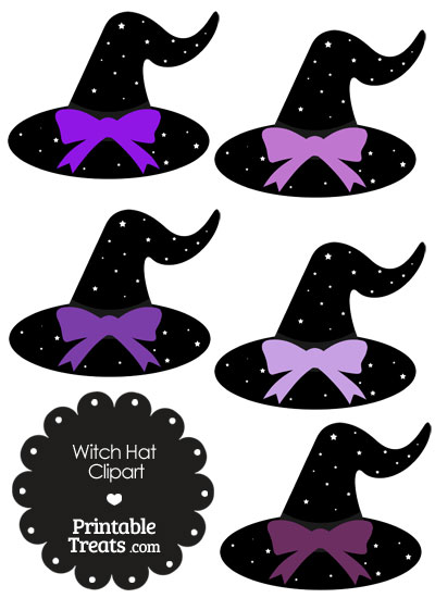 Purple Witch Hat Clipart with Large Bow from PrintableTreats.com