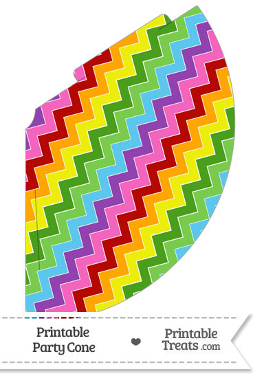 Rainbow Chevron Party Cone from PrintableTreats.com
