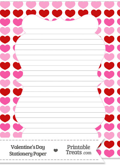 Red and Pink Hearts Stationery Paper Printable Treats – Stationery Paper with Lines