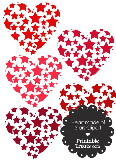 Red Heart Made Of Stars Clipart Printable Treats Com
