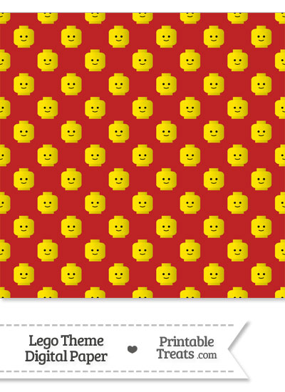 Red Lego Theme Digital Scrapbook Paper Printable Treats