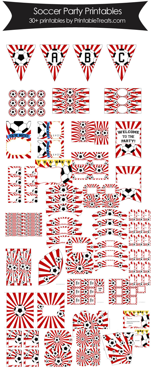 Red Sunburst Soccer Printable Party Set from PrintableTreats.com