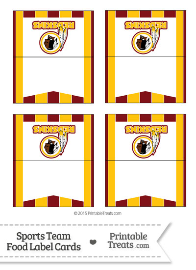 Redskins Food Label Buffet Cards from PrintableTreats.com