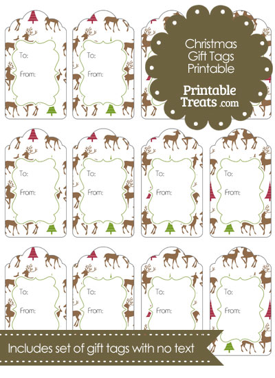Reindeer Gift Tags from PrintableTreats.com